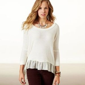 American Eagle Plus Size Cream Hem Ruffle Sweater